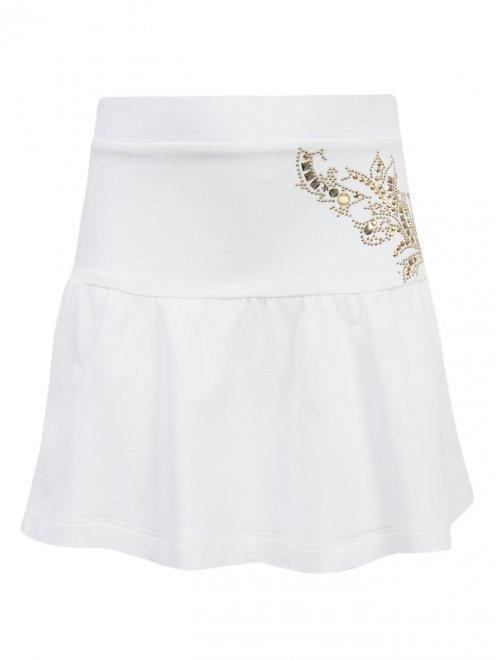 Трикотажная юбка-мини с декором - Общий вид