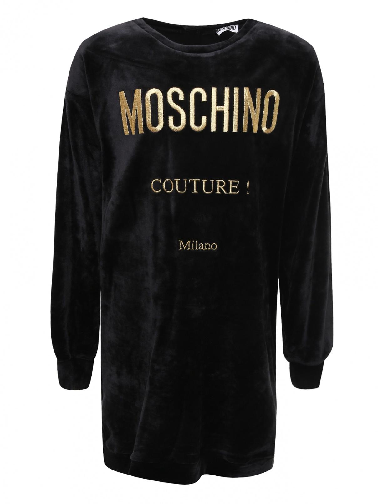 Платье велюровое с вышивкой Moschino Teen  –  Общий вид