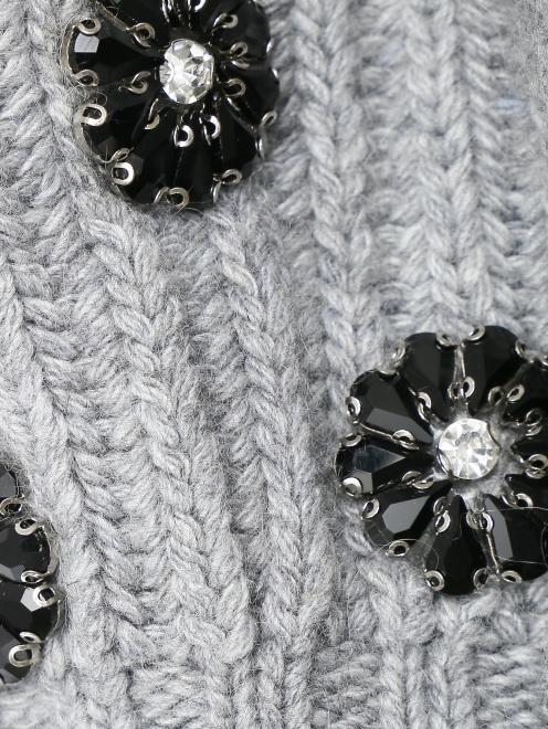 Берет из смешанной шерсти декорированный кристаллами - Деталь1