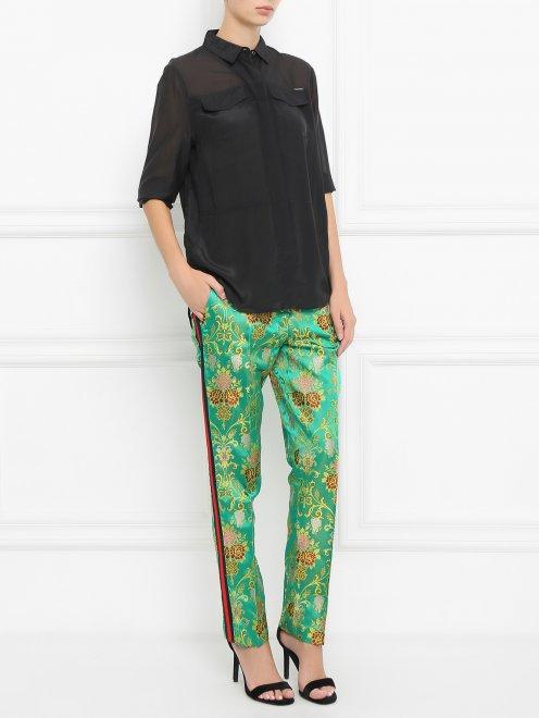 Укороченные брюки с узором - Общий вид