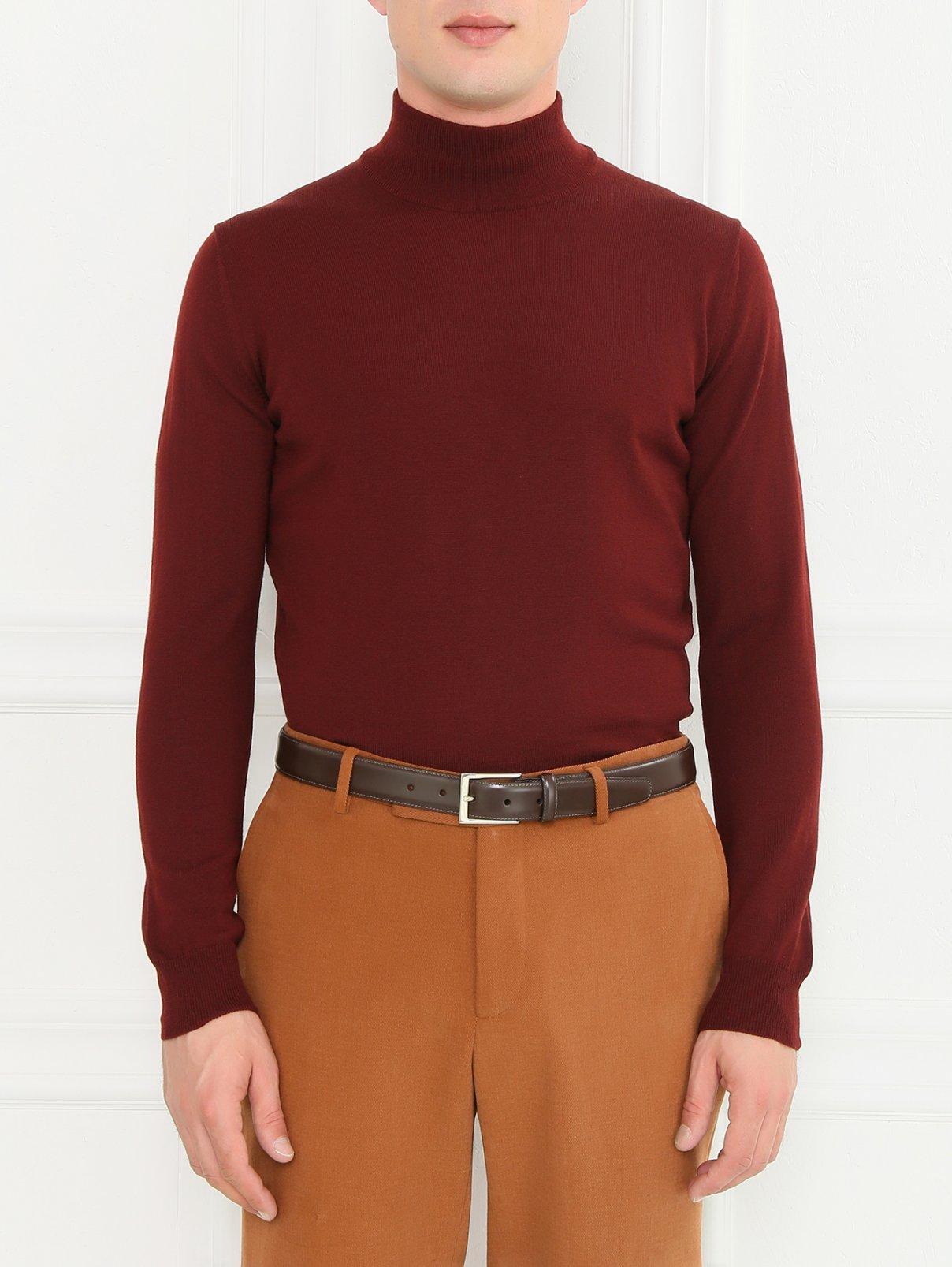Ремень из гладкой кожи Brooks Brothers  –  Модель Общий вид