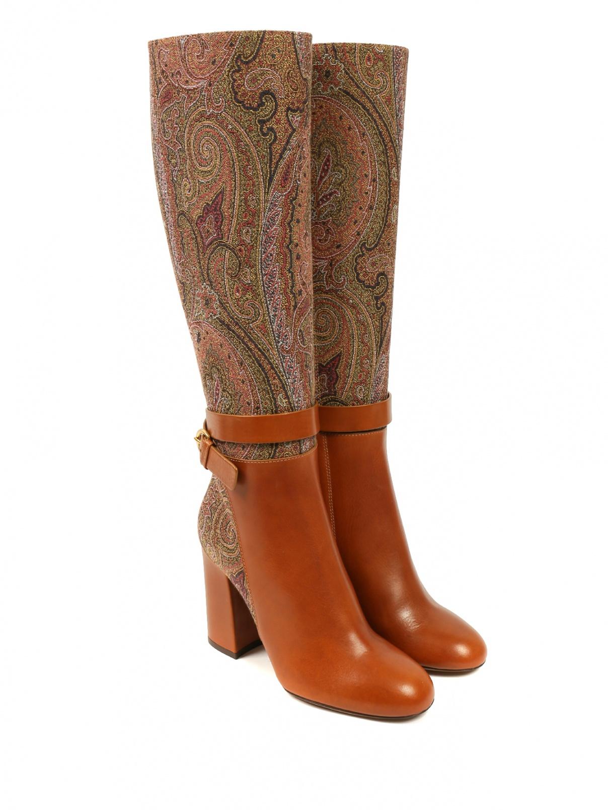 """Кожаные сапоги на устойчивом каблуке с узором """"пейсли"""" Etro  –  Общий вид"""
