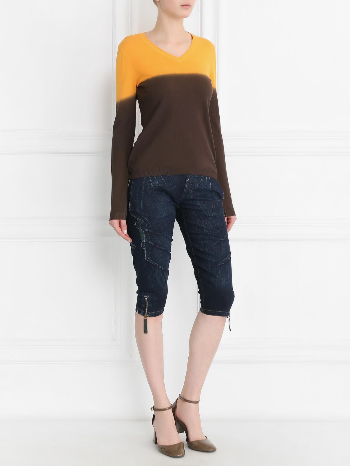Джемпер из хлопка с контрастным переходом Moschino  –  Модель Общий вид