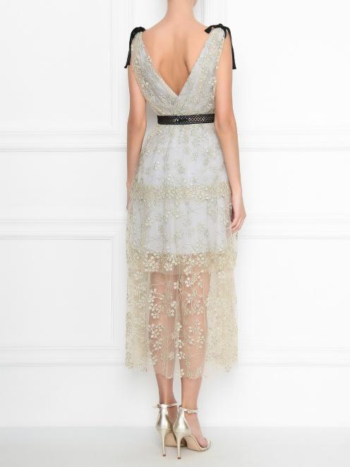 Платье-макси с полупрозрачной отделкой и декоративными бантами - МодельВерхНиз1