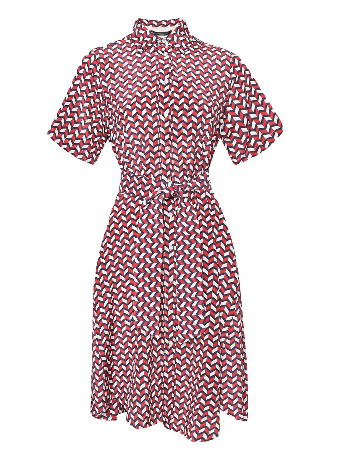 Платье из шелка свободного кроя с узором Weekend Max Mara  –  Общий вид