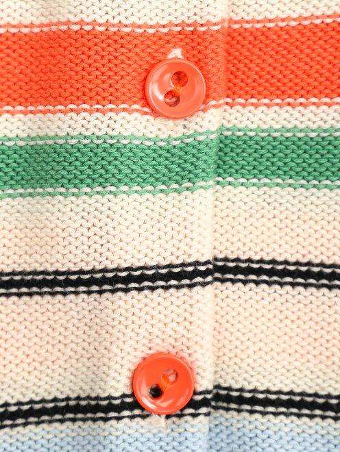 Кардиган из хлопка с цветными полосками - Деталь