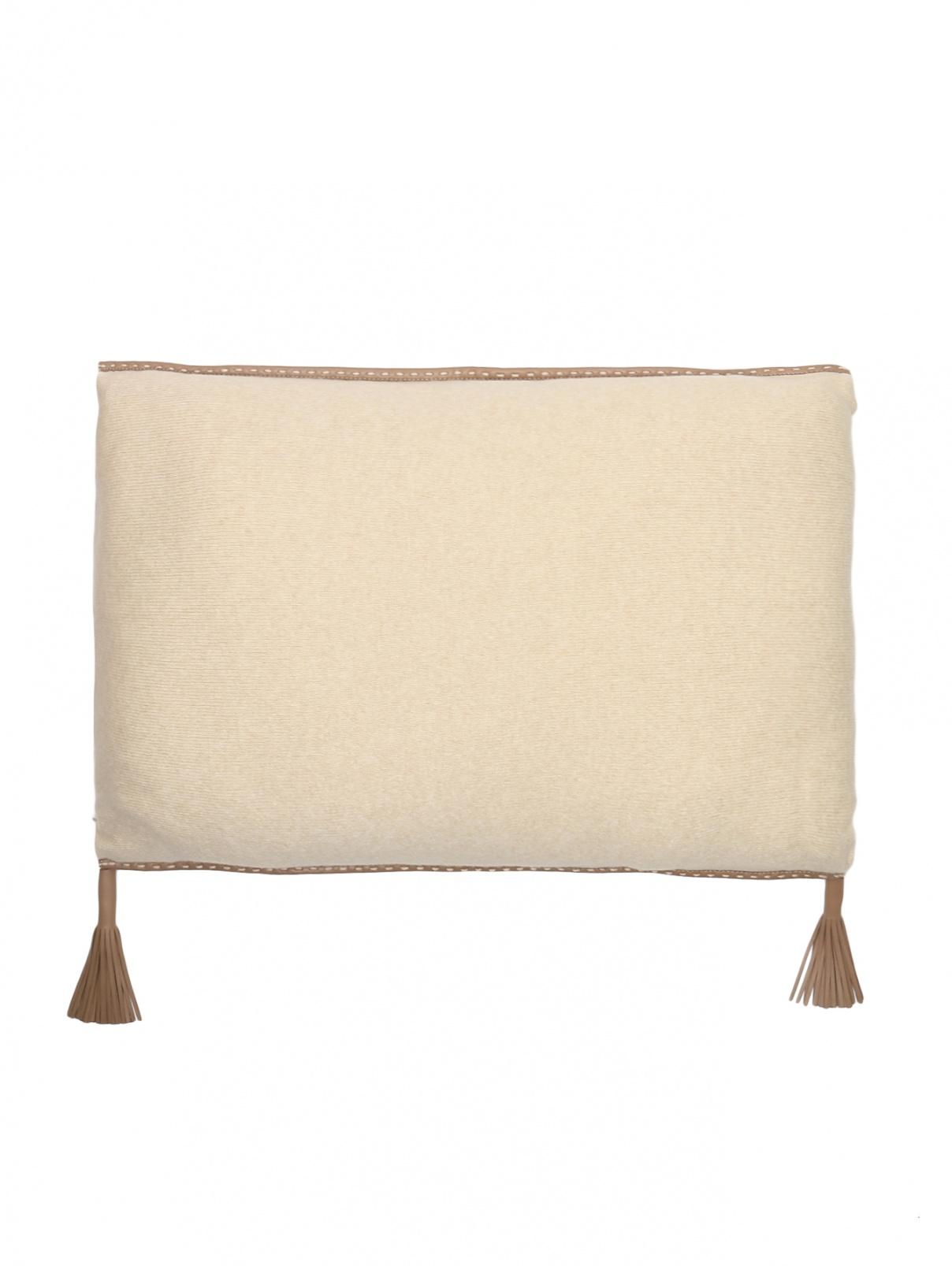 Подушка из кашемира с окантовкой из кожи и наполнителем содержащим шерсть верблюда 40 x 60 Agnona  –  Общий вид