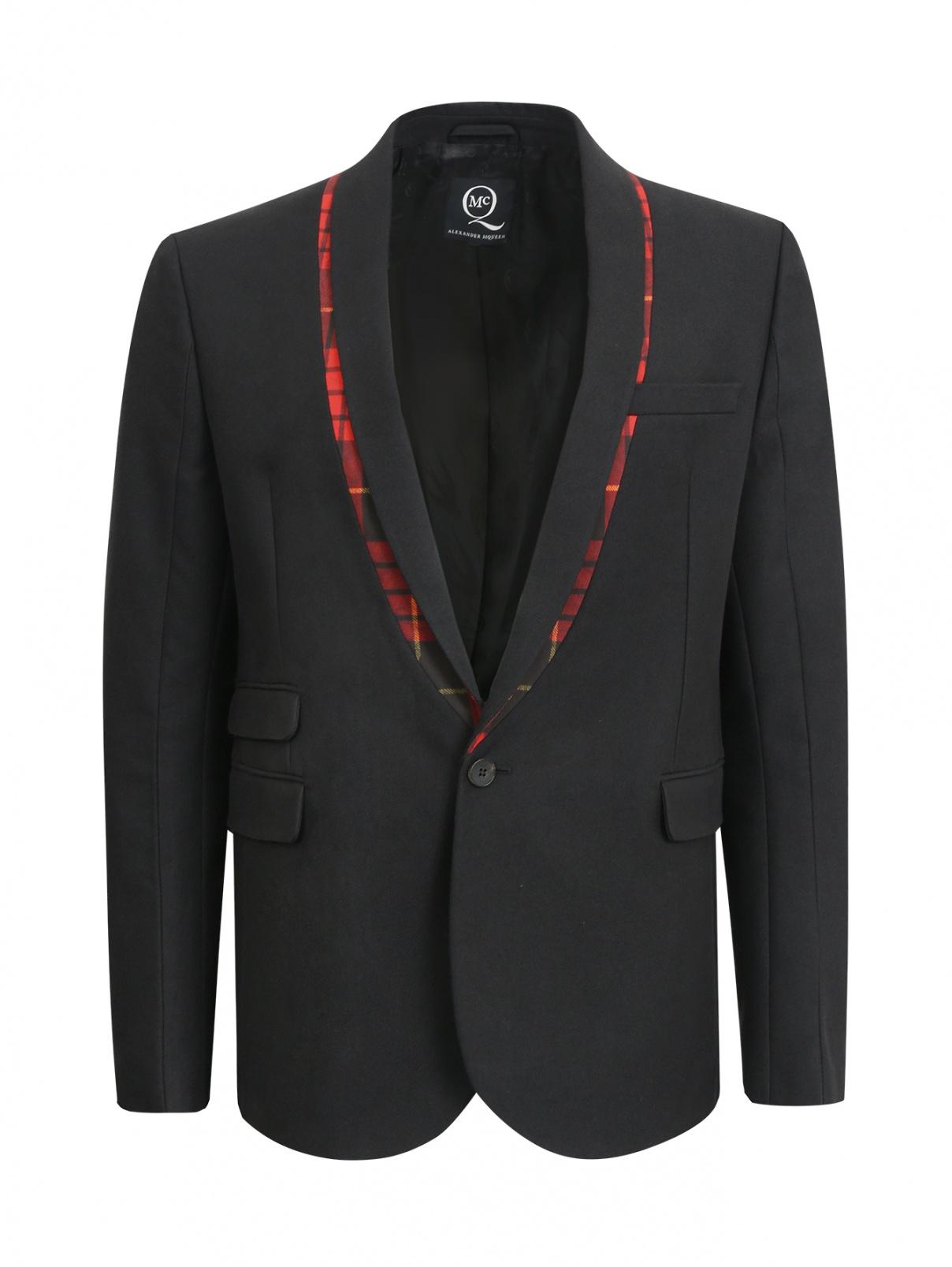 Пиджак с контрастными вставками и накладными карманами Alexander McQueen  –  Общий вид