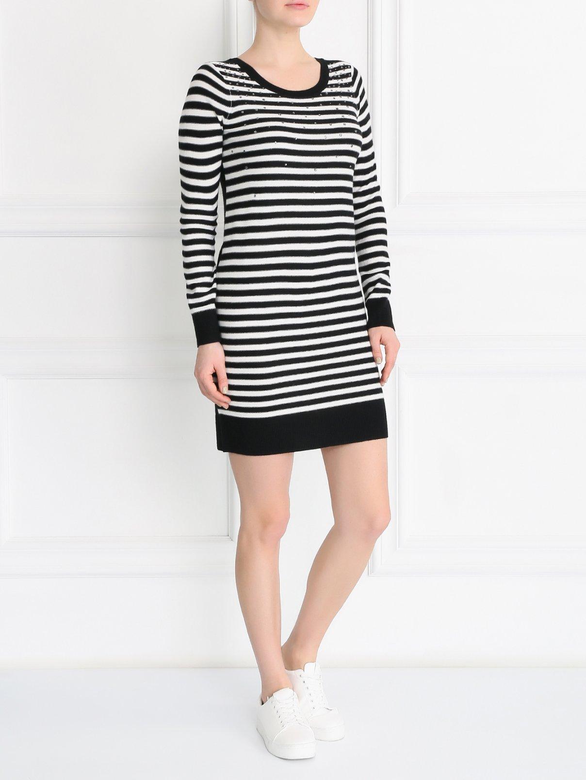 Платье  из шерсти мелкой вязки декорированное стразами Sonia By Sonia Rykiel  –  Модель Общий вид