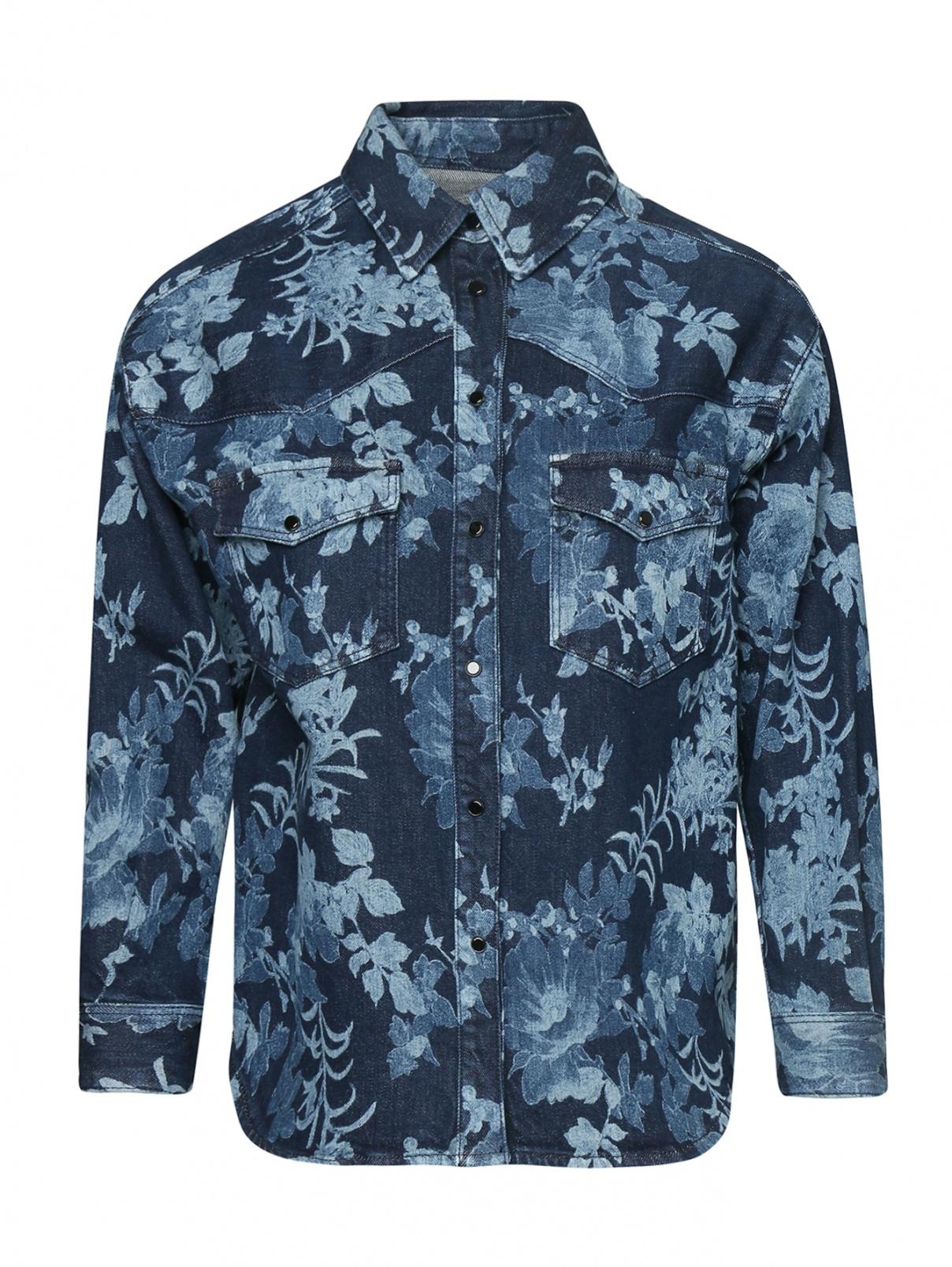 Рубашка хлопковая на кнопках с цветочным узором Etro  –  Общий вид