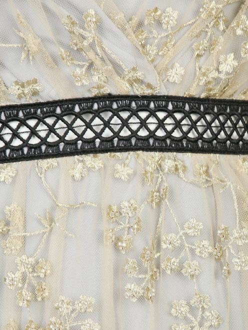 Платье-макси с полупрозрачной отделкой и декоративными бантами - Деталь