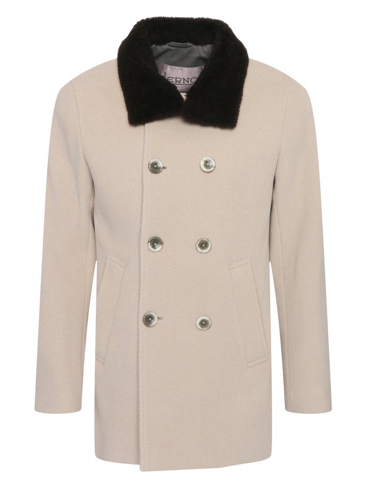 Двубортное шерстяное пальто с воротником из овчины Herno  –  Общий вид