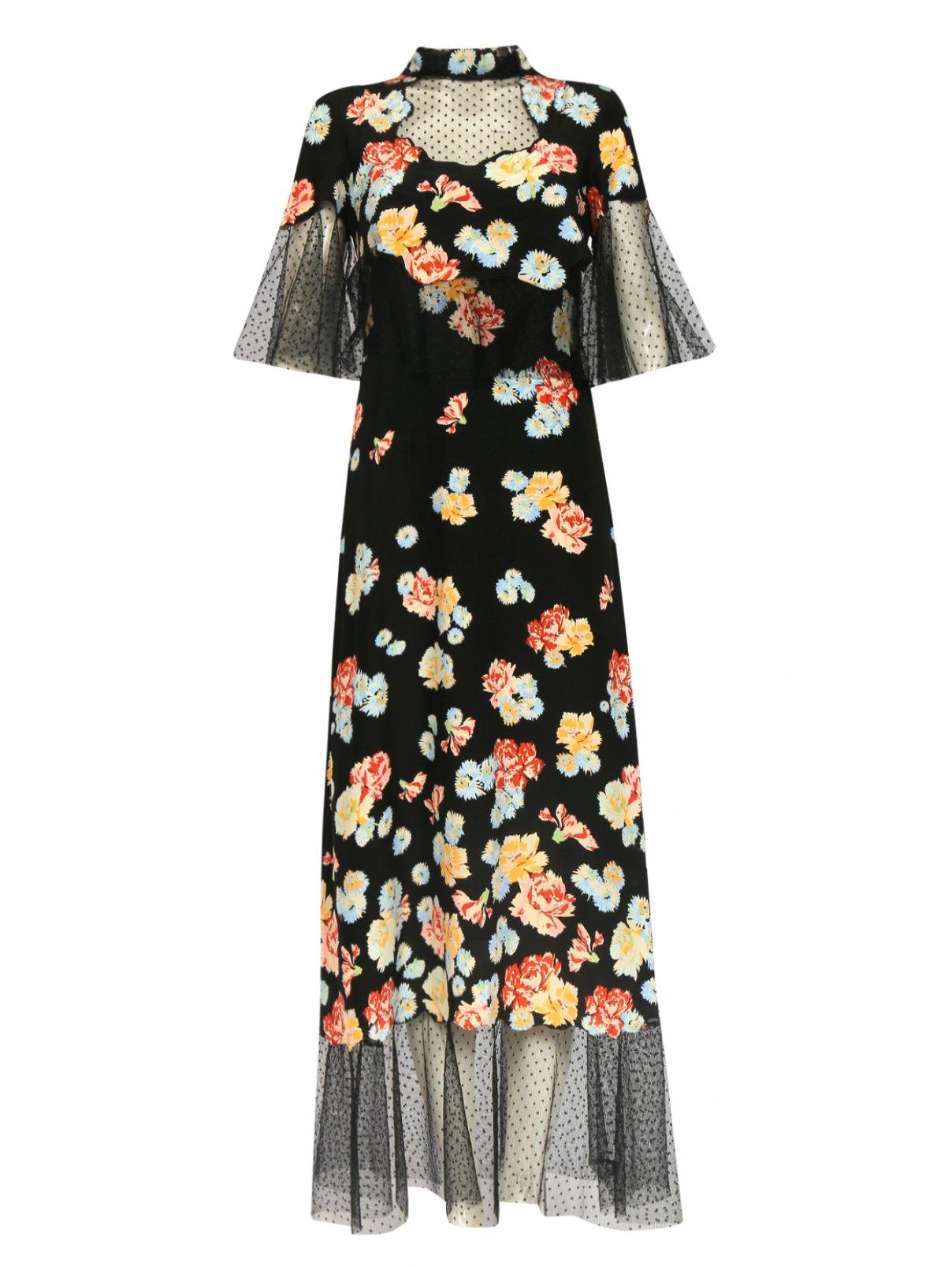 Платье-макси из шелка с узором и отделкой из кружева Vilshenko Moscow  –  Общий вид