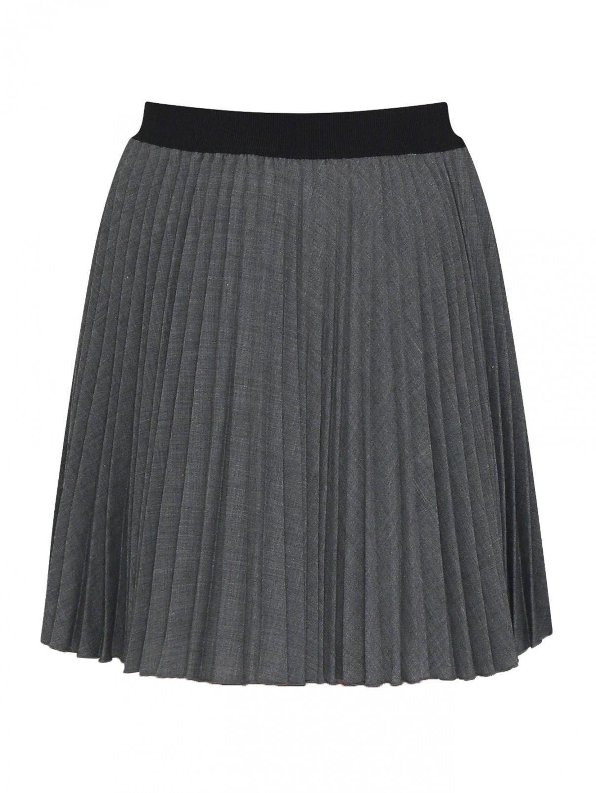 Плиссированная юбка мини из смессовой шерсти Aletta Couture  –  Общий вид