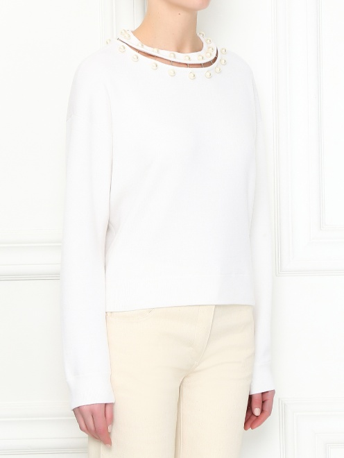Джемпер из шерсти с декоративной отделкой Alice+Olivia - МодельВерхНиз
