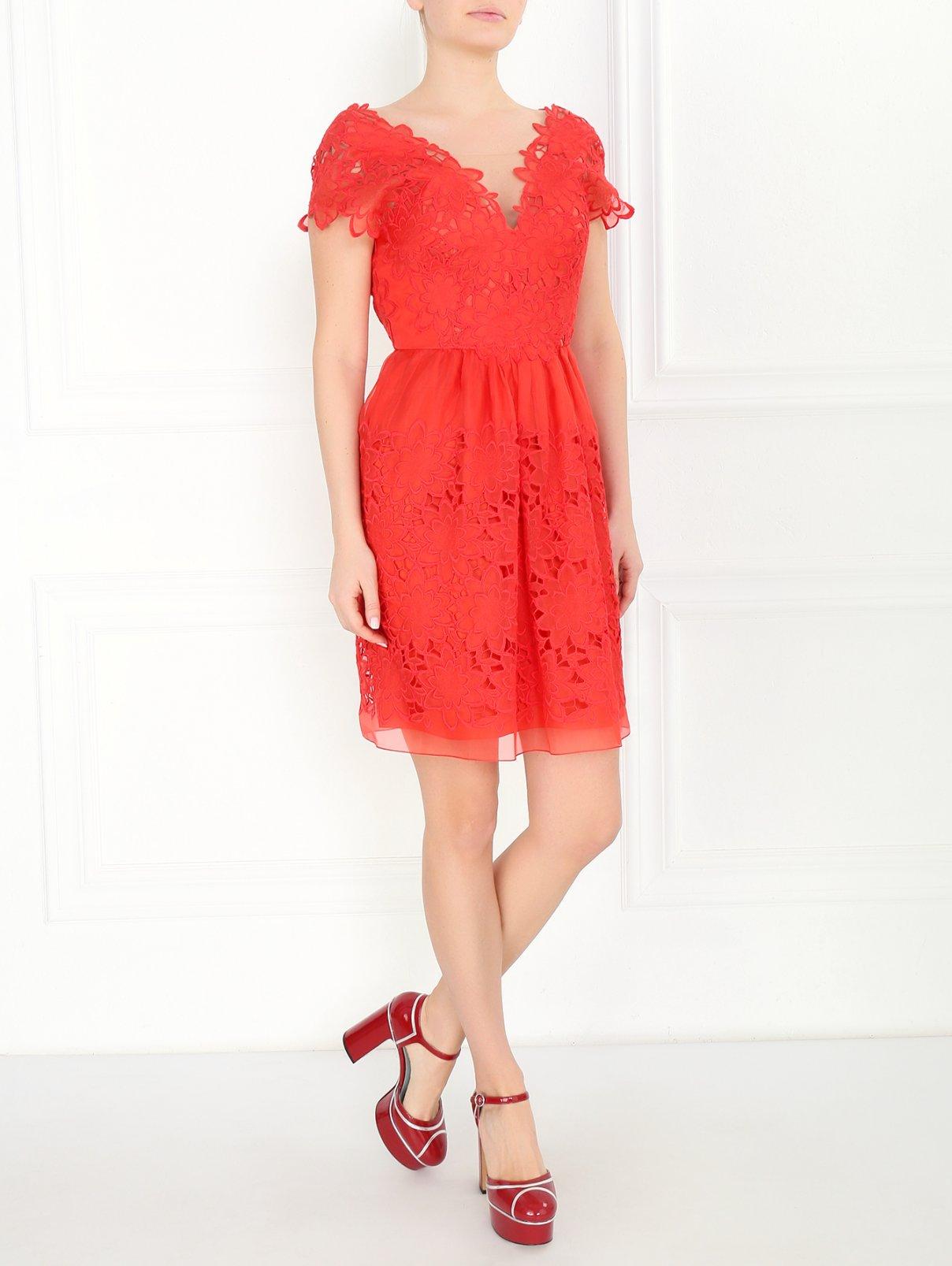 Платье-мини с кружевной отделкой Alberta Ferretti  –  Модель Общий вид