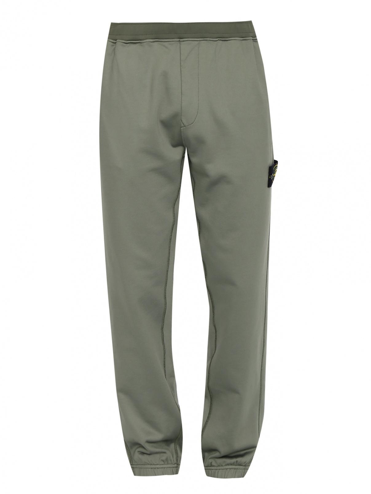 Трикотажные брюки на резинке с карманами Stone Island  –  Общий вид