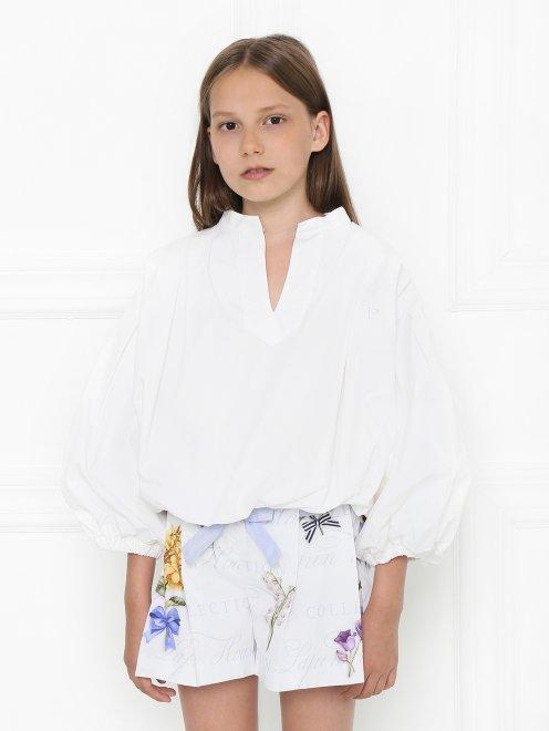 Блуза из хлопка в крестьянском стиле - МодельВерхНиз