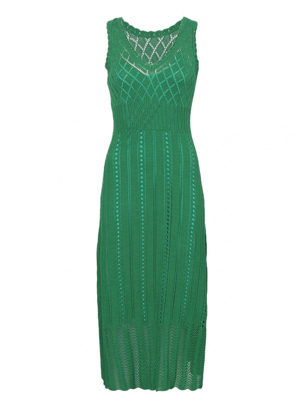 Трикотажное платье из хлопка ажурной вязки Max&Co  –  Общий вид