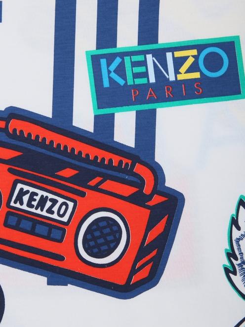 Футболка хлопковая с принтом Kenzo - Деталь1