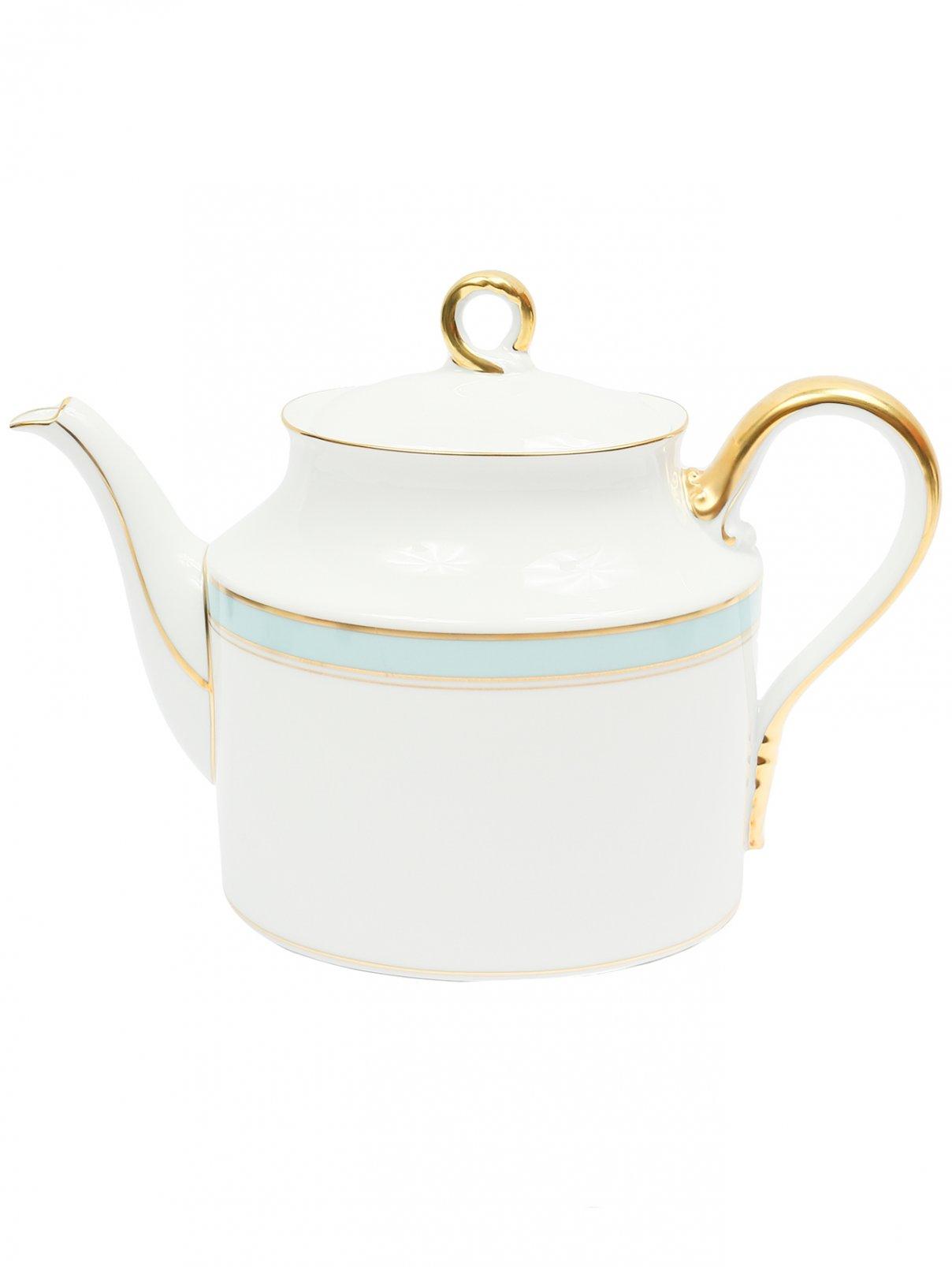 Чайник из фарфора с широкой бирюзовой окантовкой и золотой каймой Richard Ginori 1735  –  Общий вид