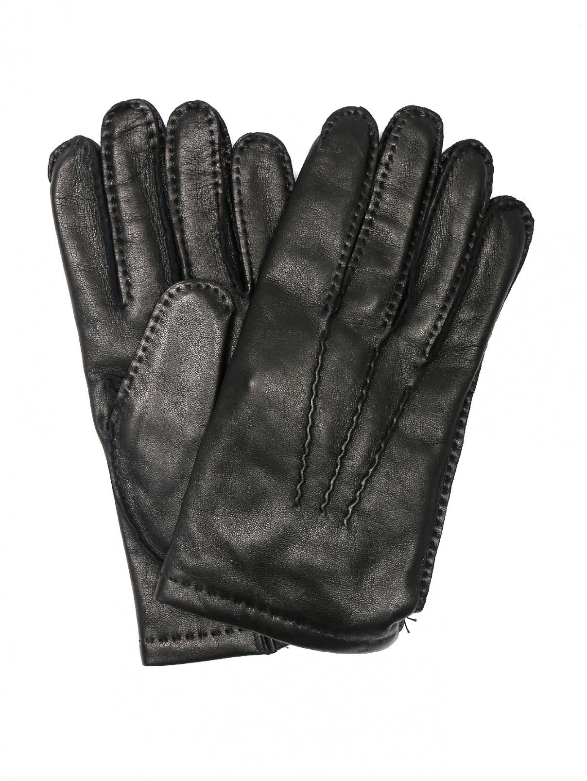 Перчатки однотонные из кожи Portolano  –  Общий вид