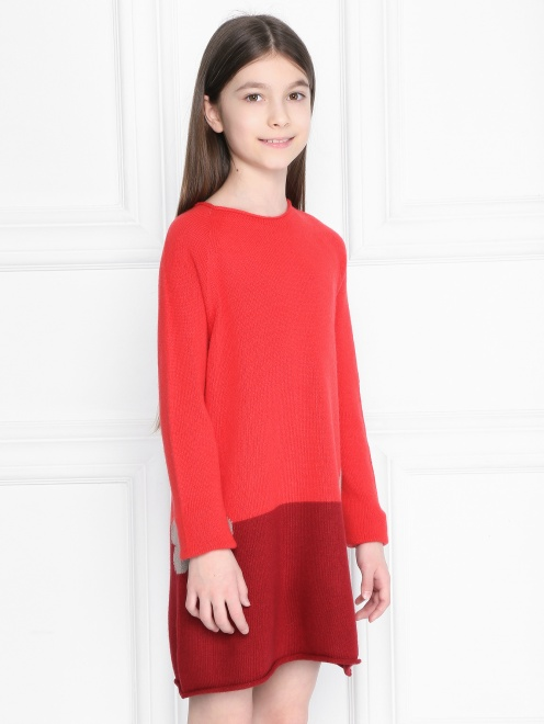 Платье из шерсти с круглым вырезом  - МодельВерхНиз