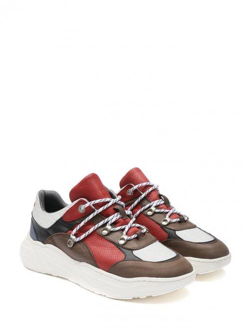 Кроссовки из кожи на контрастной подошве - Общий вид