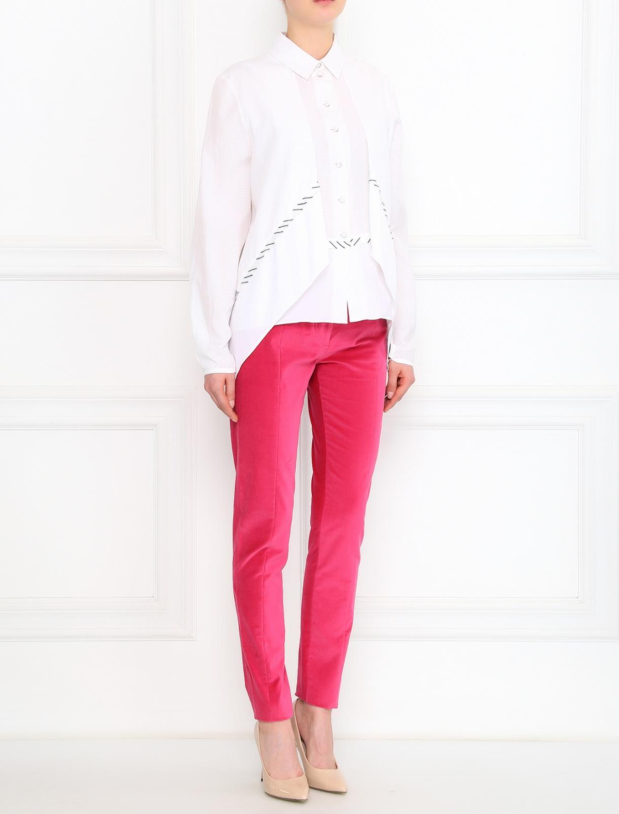 Бархатные брюки из хлопка узкого кроя Kenzo  –  Модель Общий вид