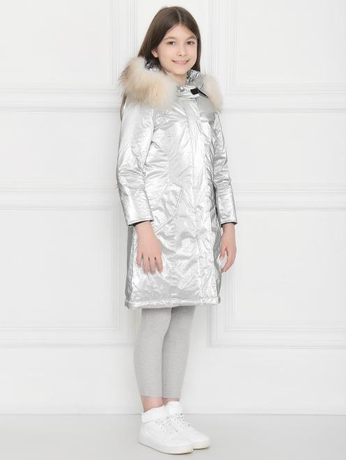 Куртка удлиненная с капюшоном с меховой отделкой - МодельВерхНиз