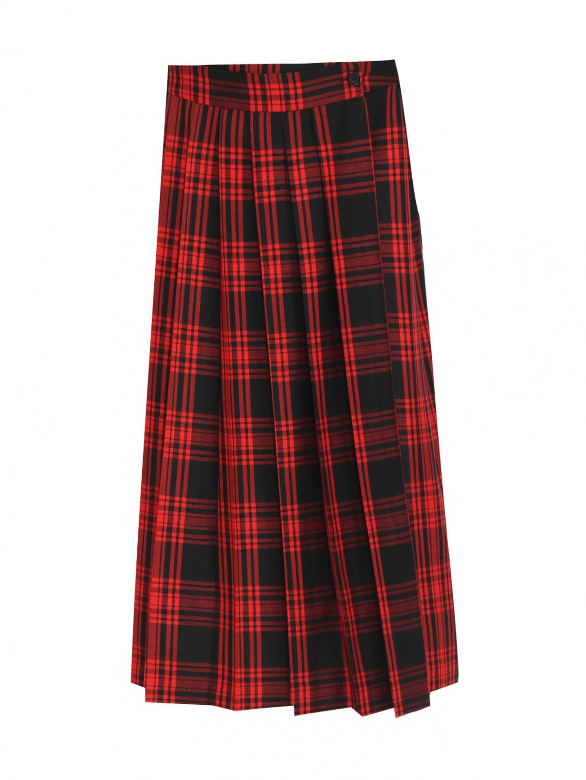 Плиссированная юбка из шерсти в клетку P.A.R.O.S.H.  –  Общий вид