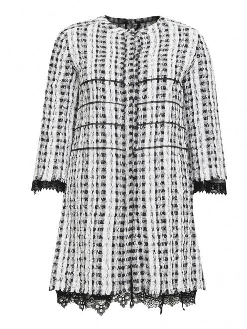 """Легкое пальто из смешанного хлопка с узором """"клетка"""" - Общий вид"""
