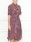 Платье из шелка свободного кроя с узором Weekend Max Mara  –  МодельВерхНиз