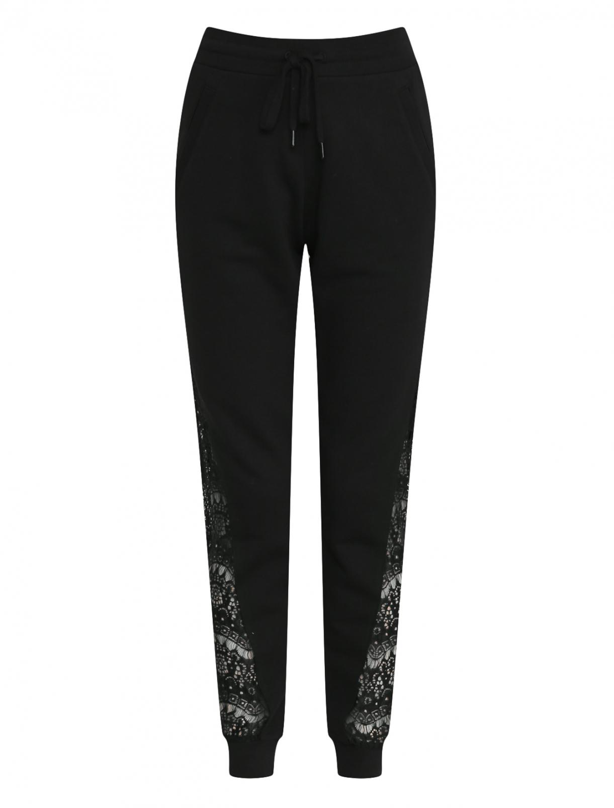Хлопковые спортивные брюки с кружевными аппликациями Love Moschino  –  Общий вид