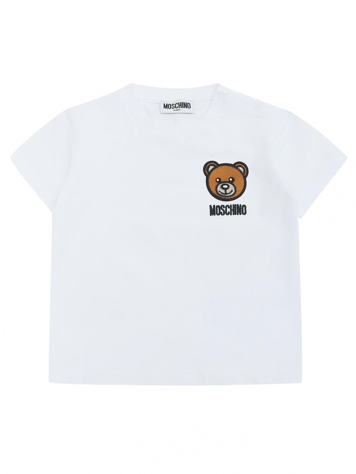 Трикотажная футболка с аппликацией Moschino BABY  –  Общий вид