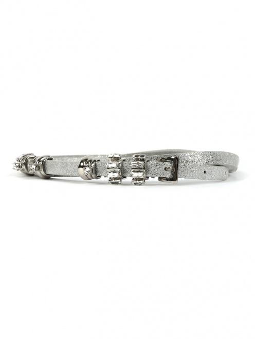 Узкий ремень из кожи с отделкой из металла и кристаллов - Общий вид