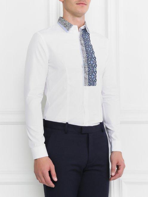 Рубашка из хлопка с контрастной вставкой - Модель Верх-Низ