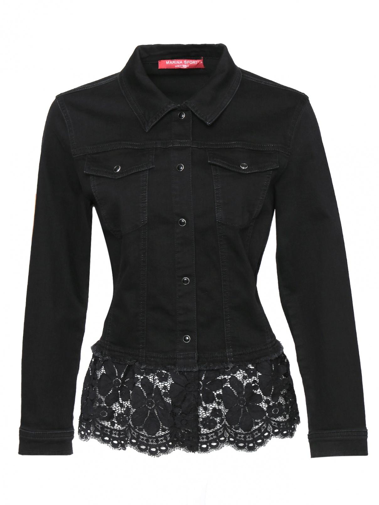 Джинсовая куртка из хлопка с кружевом Marina Rinaldi  –  Общий вид