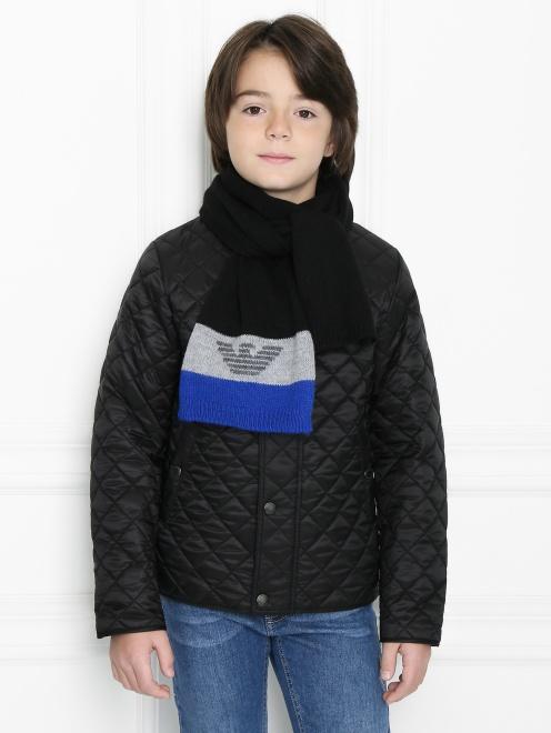 Шарф мелкой вязки с логотипом Armani Junior - Модель Верх-Низ