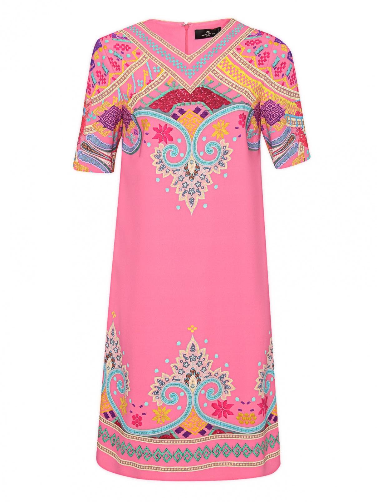 Платье прямого кроя с узором и короткими рукавами Etro  –  Общий вид