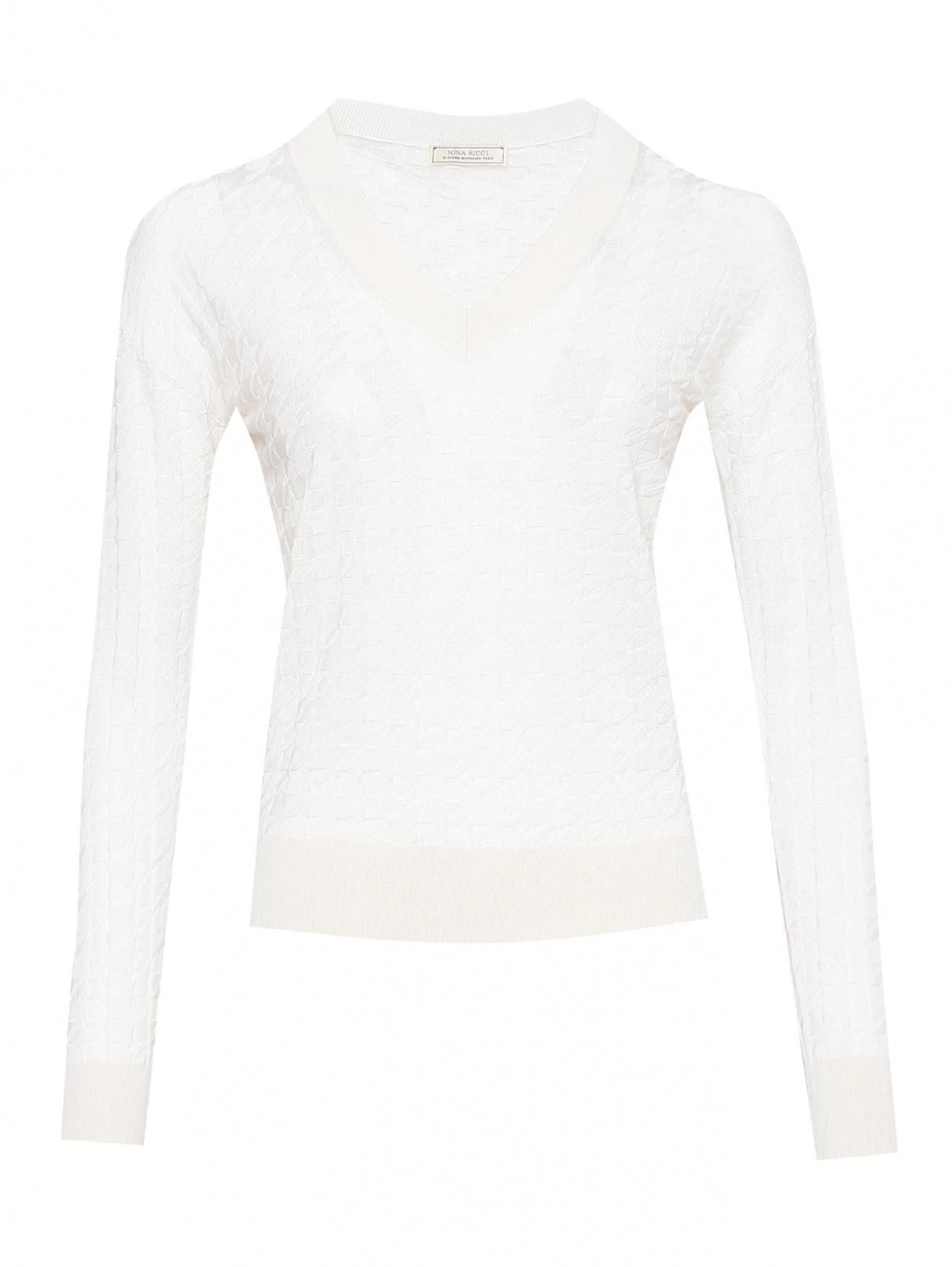 Джемпер из шелка и хлопка с V-образным вырезом Nina Ricci  –  Общий вид