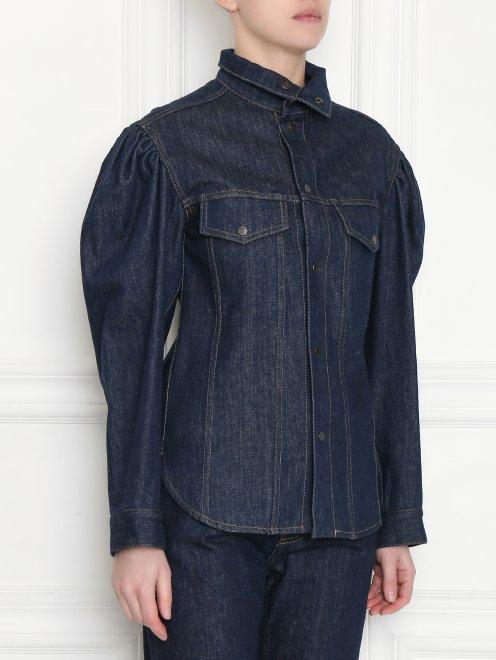 Рубашка из темного денима с объемными рукавами - МодельВерхНиз