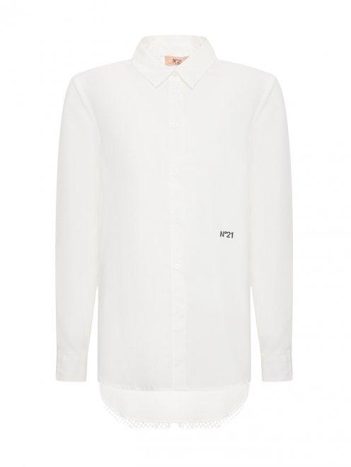Удлиненная рубашка с ажурной вставкой на спинке - Общий вид