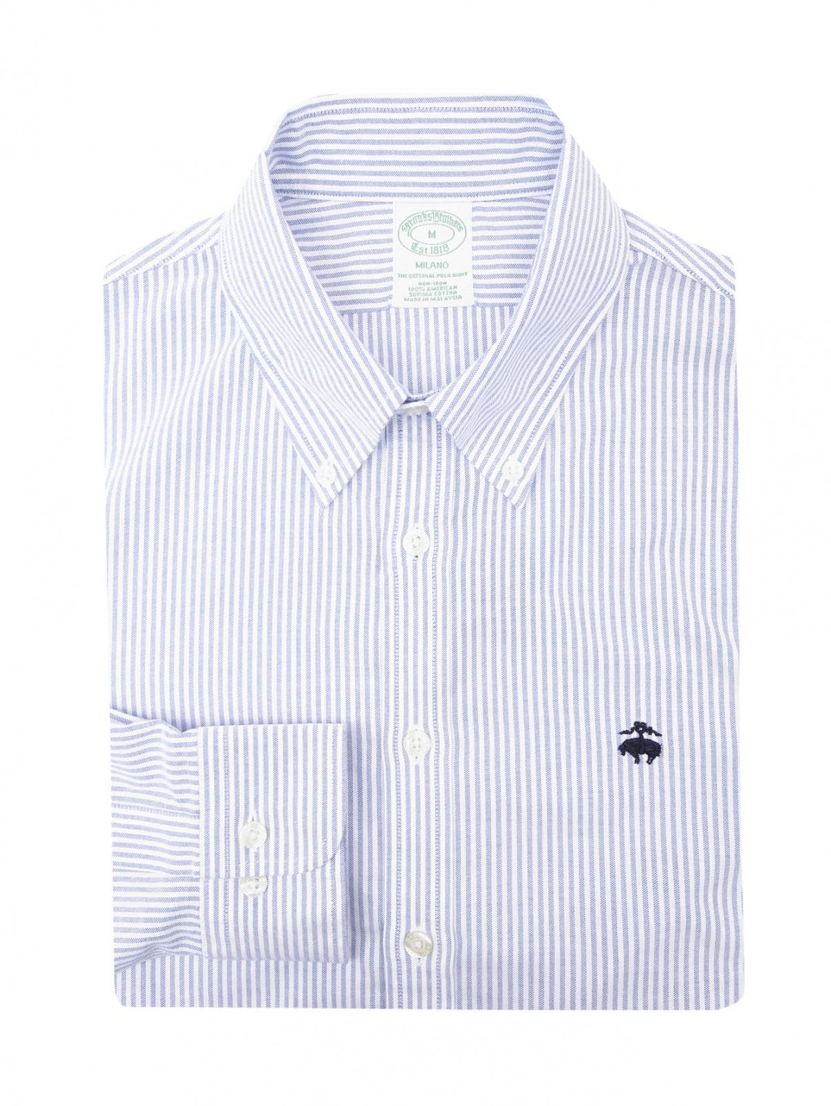"""Рубашка из хлопка с узором """"полоска"""" Brooks Brothers  –  Общий вид"""