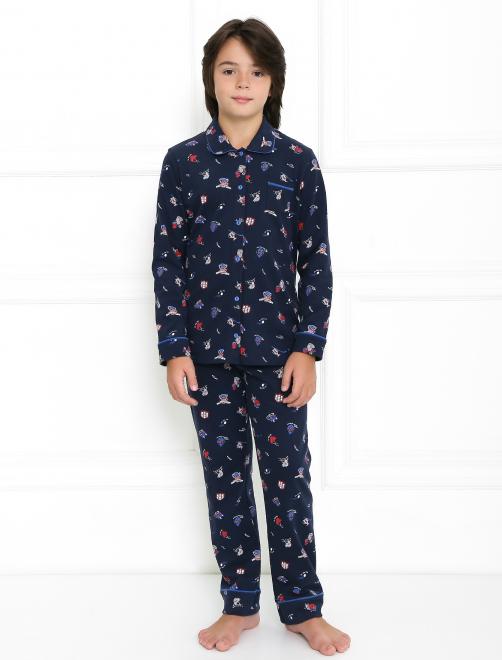 Хлопковая пижама с узором Sanetta - Общий вид