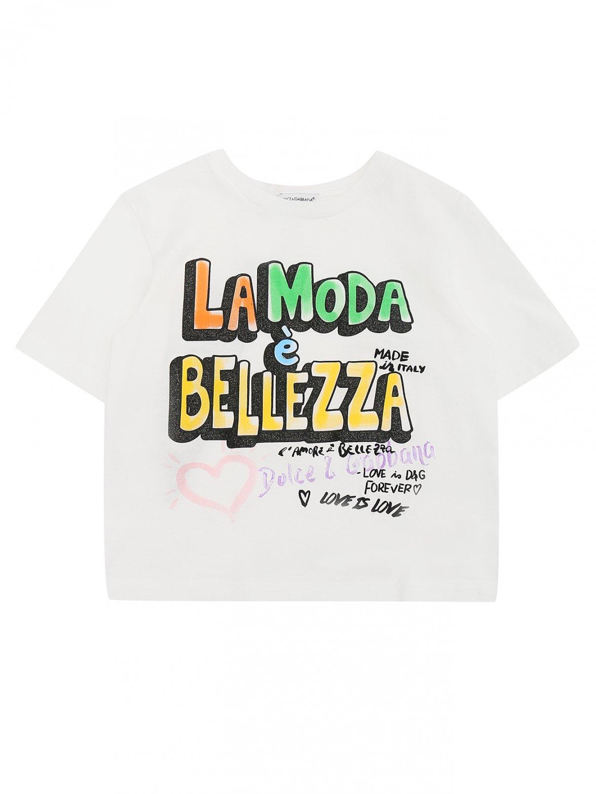 Футболка хлопковая с принтом Dolce & Gabbana  –  Общий вид